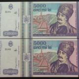 Lot / Set 2 Bancnote Serii Consecutive 5000 Lei- ROMANIA, anul 1993 *cod 631 UNC - Bancnota romaneasca
