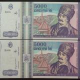 Lot / Set 2 Bancnote Serii Consecutive 5000 Lei- ROMANIA, anul 1993 *cod 630 UNC - Bancnota romaneasca