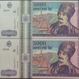 Lot / Set 2 Bancnote Serii Consecutive 5000 Lei- ROMANIA, anul 1993 *cod 632 UNC - Bancnota romaneasca
