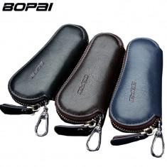 Pouch / portofel pentru chei din piele naturala cu fermoar si agatatoare - MARO
