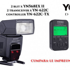 Kit YONGNUO compatibil Canon 2 x YN568EX II, 2 x YN-622C si YN-622C-TX - Blitz slave