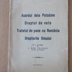 DREPTUL DE VETO, TRATATUL DE PACE CU ROMANIA SI ANEXELE EI- CONFERINTELE,1947, Alta editura