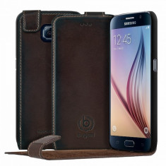 Husa de piele Bugatti FlipCover Amsterdam Samsung Galaxy S6 Brown