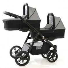Carucior gemeni PJ Stroller Lux 3 in 1 Grey