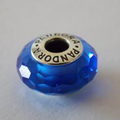 Talisman Pandora autentic Blue Faceted Glass Charm 791067 - Pandantiv argint