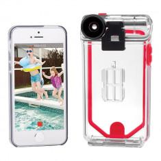 Husa Waterproof Optrix Action Camera + 2 lentile pentru Apple iPhone SE/5s/5, Clear