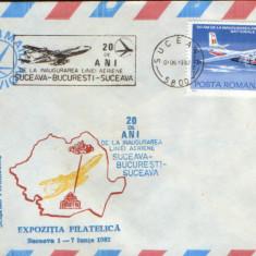 Romania -Plic ocazional 1982-20 de ani linia aeriana Suceava-Bucuresti-Suceava