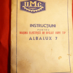 Instructiuni pt. Masina Electrica de Spalat Rufe Alba-Lux 7 , 220 V si 127 V