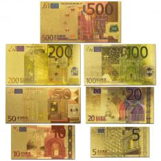Set bancnote EURO placate cu aur 24k - color