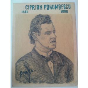 Portret in creion Ciprian Porumbescu autor fiul lui Petru Comsa din Saliste