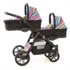 Carucior gemeni PJ Stroller Lux 2 in 1 Multicolor