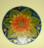 Floarea soarelui - Tablou semnat, ulei pe lemn, Flori, Altul