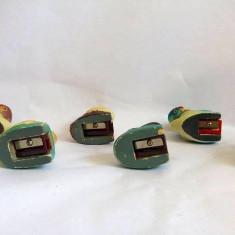Lot 6 ascutitori ceramica, China, pasari, vechi, vintage, cca 5x5cm, colectie