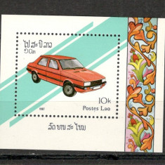 Laos.1987 Automobile-Bl. SL.427 - Timbre straine, Nestampilat