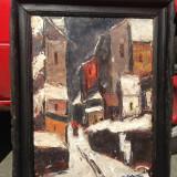 Pictura imensa in ulei exceptionala - Oras frantuzesc - Redusa foarte mult! - Tablou autor neidentificat, Natura, Realism