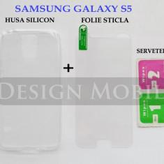 HUSA SAMSUNG GALAXY S5 SILICON SLIM TRANSPARENTA + FOLIE STICLA ECRAN - Husa Telefon