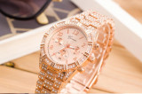 NOU Ceas dama rose gold elegant strasuri bratara metalica GENEVA + cutie cadou, Fashion, Quartz, Inox
