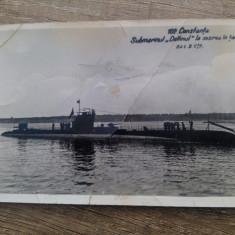 Submarinul Delfinul la sosirea in tara/Carte postala, C.P., CP, Circulata, Fotografie