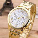 NOU Ceas de dama auriu elegant cu cadran analog si curea metalica GENEVA, Fashion, Quartz, Inox