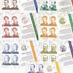 OAMENI CELEBRI, EMINESCU, ENESCU, IORGA, BLAGA, ETC. MINISHEET, 2012 MNH, ROMANIA. - Timbre Romania, Nestampilat