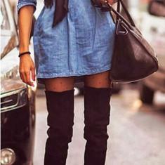 B537-444 Rochie scurta casual din denim, stil camasa cu maneci lungi si elastic in talie - Rochie de club, Marime: XL