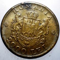 2.382 ROMANIA MIHAI 2000 LEI 1946 VARIANTA SCUT 2 SFERTURI PLINE - Moneda Romania, Alama