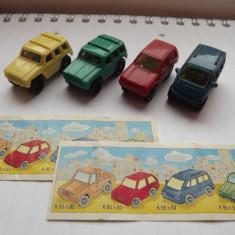 K120 Kinder vehicule-set complet 4 masinute cu motoras+2 BPZ K95 N82 83 84 85 - Surpriza Kinder