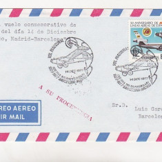 Bnk fil Spania 1977 aerofilatelie plic stampila ocazionala IBERIA