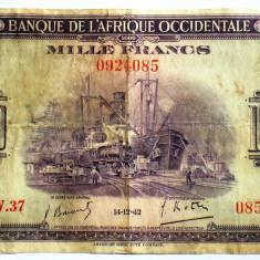 02. WWII AFRICA OCCIDENTALA ADMINISTRATIE FRANCEZA 1000 FRANCS FRANCI 1942 RARA - bancnota africa