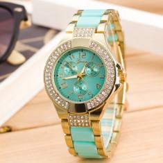 NOU Ceas de dama auriu verde elegant cu cadran strasuri si curea metalica GENEVA