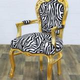 SEMIFOTOLIU BAROC DIN LEMN MASIV AURIU CU TAPITERIE ZEBRA CAT526-gold-zebra, Fotolii