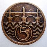 2.395 CEHOSLOVACIA 5 HALERU 1929, Europa, Bronz
