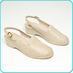 Pantofi dama decupati, din piele, comozi, usori, aerisiti, ROHDE → femei | nr 40 - Pantof dama, Culoare: Crem, Piele naturala, Cu toc