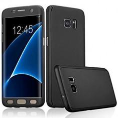 Husa 360 grade pentru Samsung S7 EDGE cu folie de protectie inclusa- BLACK - Husa Telefon, Samsung Galaxy S7 Edge, Negru, Carcasa