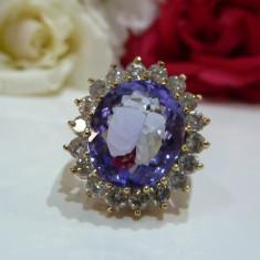 """Inel aur 14k cu tanzanite si diamante """"Lady Diana"""", Culoare: Alb"""