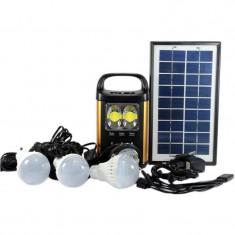Panou solar kit fotovoltaic 3 becuri incarcare telefon USB lanterna cap GD8131