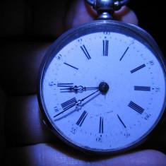 Ceas de buzunar din argint Cylindre Huit Rubis cu cheita in spate - Ceas de buzunar vechi