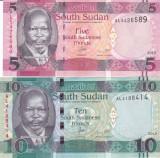 Bancnota Sudanul de Sud 5 si 10 Pounds 2015 - P13a UNC ( set x2 )