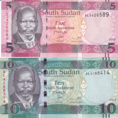 Bancnota Sudanul de Sud 5 si 10 Pounds 2015 - P13a UNC ( set x2 ) - bancnota africa