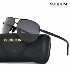 Ochelari de soare polarizati VOBOM, Unisex, Negru, Pilot, Metal, Polarizate