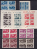 ROMANIA 1947   LP 217  LP 218 a  1 MAI  ZIUA MUNCII BLOCURI  DE 4 TIMBRE MNH, Nestampilat