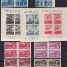 ROMANIA 1947   LP 217  LP 218 a  1 MAI  ZIUA MUNCII BLOCURI  DE 4 TIMBRE MNH