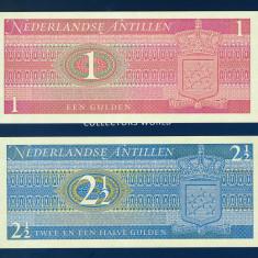 ANTILELE OLANDEZE - Set 2 bancnote - 1 & 2 1/2 Gulden 1970 - UNC - bancnota america