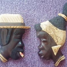 Doua masti lemn din Cuba, barbat si femeie deosebite - Arta din America