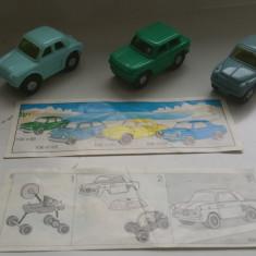 K129 Kinder vehicule - set 3 masinute cu motoras K96 N99 N100 N102 cu 2 BPZ - Surpriza Kinder
