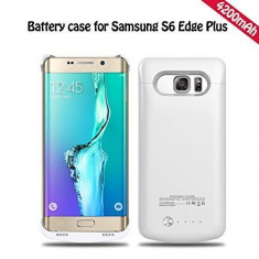 Baterie externa power case 4200 mah Samsung Galaxy S6 edge plus alba, 4400 mAh