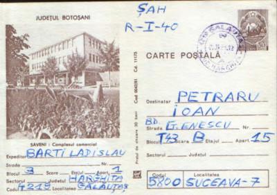 Romania - Intreg postal CP circulat 1981- Saveni - Complexul Comercial foto