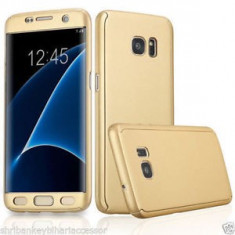 Husa 360 grade pentru Samsung S7 EDGE cu folie de protectie inclusa- GOLD - Husa Telefon, Samsung Galaxy S7 Edge, Auriu, Carcasa