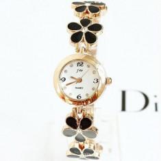 NOU Ceas de dama fashion auriu negru strasuri bratara florala JW + cutie cadou - Ceas dama Calvin Klein, Quartz, Metal necunoscut, Analog