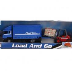 Set camion Scania albastru cu motostivuitor